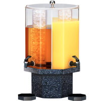 Cal-Mil 971-5-17 Classic 5 Gallon Dual Chamber Beverage Dispenser with Granite Charcoal Base - 13 inch x 13 inch x 22 inch
