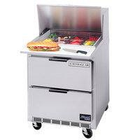 Beverage Air SPED27-12M-B 27 inch Mega Top Refrigerated Salad / Sandwich Prep Table with Drawers