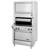 Garland M100XSM Master Series Liquid Propane Heavy-Duty Upright Infrared Broiler with Finishing Oven and Storage Base - 70,000 BTU