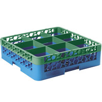 Carlisle RG9-1C413 OptiClean 9 Compartment Glass Rack with 1 Color-Coded Extender - Green / Carlisle Blue