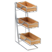 Cal Mil 1235-39-60 Platinum 3 Tier Flatware Display with Bamboo Bins - 5 1/4 inch x 6 3/4 inch x 16 inch