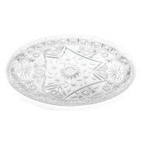 20 inch x 15 inch Crystal Oval Plastic Catering Tray