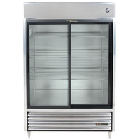 True TSD-47G-LD Two Section Sliding Glass Door Reach In Refrigerator with LED Lighting - 47 Cu. Ft.