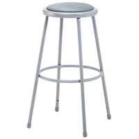 National Public Seating 6430 30 inch Gray Round Padded Lab Stool