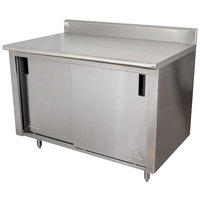 Advance Tabco CK-SS-304 30 inch x 48 inch 14 Gauge Work Table with Cabinet Base and 5 inch Backsplash