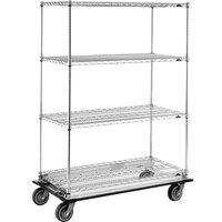 Metro Super Erecta N556LC Chrome Mobile Wire Shelving Truck with Polyurethane Casters 24 inch x 48 inch x 69 inch