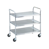 Vollrath 97105 Knocked Down Stainless Steel 3 Shelf Utility Cart - 24 inch x 16 inch x 36 1/2 inch