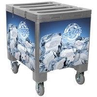 Gray Ice Caddy 200 lb. Mobile Ice Bin / Beverage Merchandiser