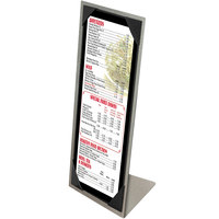 Menu Solutions MTPIX-414 Aluminum Menu Tent with Picture Corners - Brushed Finish - 4 1/4 inch x 14 inch