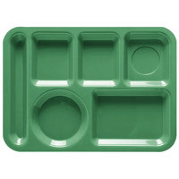 GET TL-152 10 inch x 14 inch Left Hand 6 Compartment Tray - Rainforest Green ABS Plastic 12 / Pack