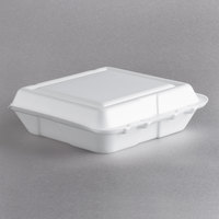Dart Solo 80HT1R 8 inch x 7 1/2 inch x 2 inch White Foam Square Take Out Container with Hinged Lid - 200/Case