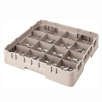 Cambro 16S434184 Camrack 5 1/4 inch High Beige 16 Compartment Glass Rack