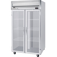 Beverage Air HR2-1G-LED 2 Section Glass Door Reach-In Refrigerator with LED Lighting - 49 cu. ft., SS Front, Gray Exterior