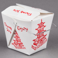 Fold-Pak 32WHPAGODM 32 oz. Pagoda Chinese / Asian Paper Take-Out Container with Wire Handle - 500 / Case