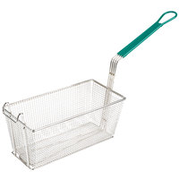 13 inch x 6 1/2 inch x 6 inch Nickel-Plated Metal Fryer Basket with Front Hook