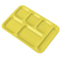 Carlisle 4398834 Bright Yellow 10 inch x 14 inch Heavy Weight Melamine Right Hand 6 Compartment Tray