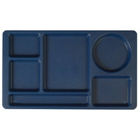 Cambro 915CP186 (2 x 2) 8 3/4 inch x 15 inch Navy Blue Six Compartment Serving Tray - 24/Case