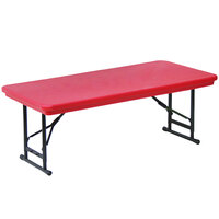 Correll R-Series RA3060S 30 inch x 60 inch Red Plastic Adjustable Height Folding Table - Short Legs