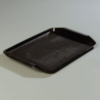 Carlisle CT121703 Customizable Cafe 12 inch x 17 inch Black Handled Plastic Fast Food Tray - 12/Case