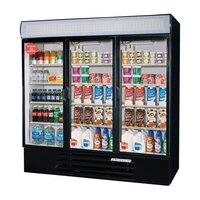 Beverage Air LV72Y-1-B LumaVue 75 inch Three Section Glass Door Black Merchandising Refrigerator - 72 Cu. Ft.