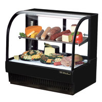 True TCGR-50-CD 50 inch Black Curved Glass Refrigerated Deli Case - 27.4 Cu. Ft.