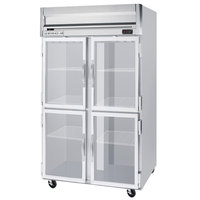 Beverage Air HF2-1HG 2 Section Glass Half Door Reach-In Freezer - 49 cu. ft., Stainless Steel Front, Gray Exterior
