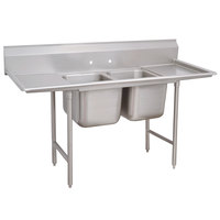 Advance Tabco 93-22-40-36RL Regaline Two Compartment Stainless Steel Sink with Two Drainboards - 117 inch