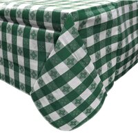 52 inch x 70 inch Green Gingham Vinyl Table Cover with Flannel Back
