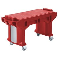 Cambro VBRT5158 Hot Red 5' Versa Work Table with Standard Casters