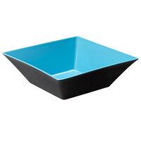 GET ML-249-BL/BK Brasilia 12.8 Qt. Blue and Black Square Melamine Bowl - 3/Case