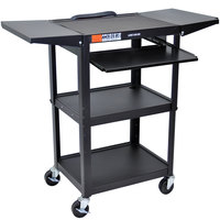 Luxor / H. Wilson AVJ42KBDL Adjustable Height Black A/V Cart with Keyboard Shelf and Drop Leaf Shelves