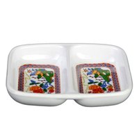 Peacock 1 oz. Rectangular Melamine Twin Sauce Dish - 24/Pack
