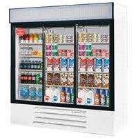 Beverage Air LV72Y-1-W LumaVue 75 inch Three Section Glass Door White Merchandising Refrigerator - 72 Cu. Ft.