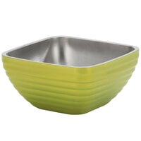 Vollrath 4763230 Double Wall Square Beehive 1.8 Qt. Serving Bowl - Lemon Lime