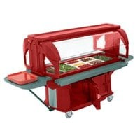 Cambro VBRUHD6158 Hot Red 6' Versa Ultra Food / Salad Bar with Storage and Heavy-Duty Casters