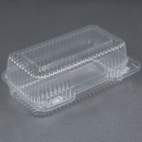 Durable Packaging PXT-395 9 inch x 5 inch x 3 inch Clear Hinged Lid Plastic Container - 125/Pack