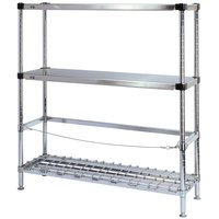 Metro 3KR366FC Three Keg Rack with One Dunnage Rack - 60 inch x 18 inch x 64 1/8 inch