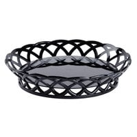 GET RB-860-BK 10 1/2 inch Black Round Plastic Fast Food Basket - 12 / Pack
