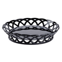 Black GET RB-860-BK Round 10 1/2 inch Plastic Fast Food Basket 12 / Pack