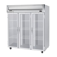 Beverage Air HF3-5G-LED 3 Section Glass Door Reach-In Freezer - 74 cu. ft., Stainless Steel Front, Gray Exterior