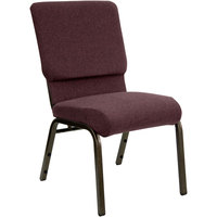 Plum 18 1/2 inch Wide Church Chair with Gold Vein Frame