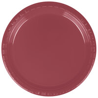 Creative Converting 28312211 7 inch Burgundy Plastic Lunch Plate - 240 / Case
