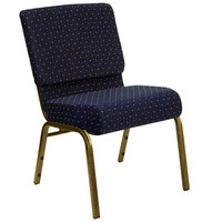 Navy Blue Dot Patterned 21 inch Extra Wide Church Chair with Gold Vein Frame