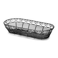 Tablecraft BK21815 Mediterranean Oblong Black Metal Basket - 15 inch x 6 1/4 inch x 3 inch