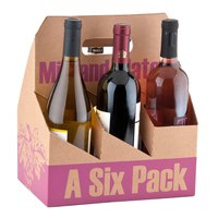 6 Pack Cardboard Wine Bottle Carrier - 50/Case