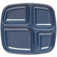 Carlisle 4398635 10 inch x 9 3/4 inch Cafe Blue Melamine 4 Compartment Server Tray