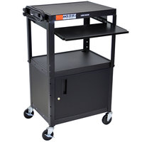 Luxor / H. Wilson AVJ42KBC Mobile Computer Cart / Workstation 24 inch x 18 inch with Locking Cabinet and Keyboard Shelf