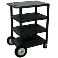 Luxor BCB45 Black 4 Shelf Serving Cart with Rear Big Wheels - 18 inch x 24 inch x 39 inch
