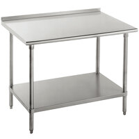 Advance Tabco SFG-307 30 inch x 84 inch 16 Gauge Stainless Steel Commercial Work Table with Undershelf and 1 1/2 inch Backsplash
