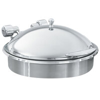Vollrath 46122 6 Qt. Intrigue Round Induction Chafer with Stainless Steel Trim and Porcelain Food Pan